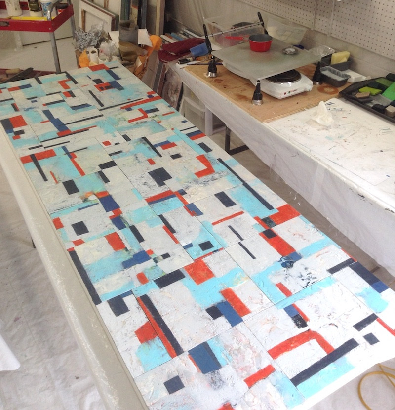 Large encaustic wax painting being worked on in Shirley Williams art studio