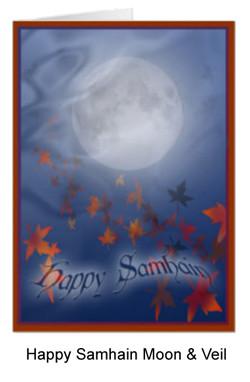 Full moon and veil card for Samhain