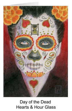 Day of the dead face with hearts and hour glass