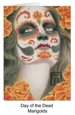 Day of the dead portrait with marigolds