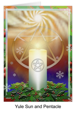 Yule sun candle and pentacle