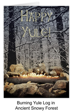 Burning Yule log in snow forest