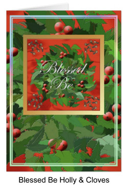 Blessed be card with holly and cloves