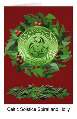 Celtic spiral and holly for yule
