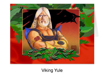Viking yule card with holly