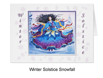 Winter solstice snowfall with goddess