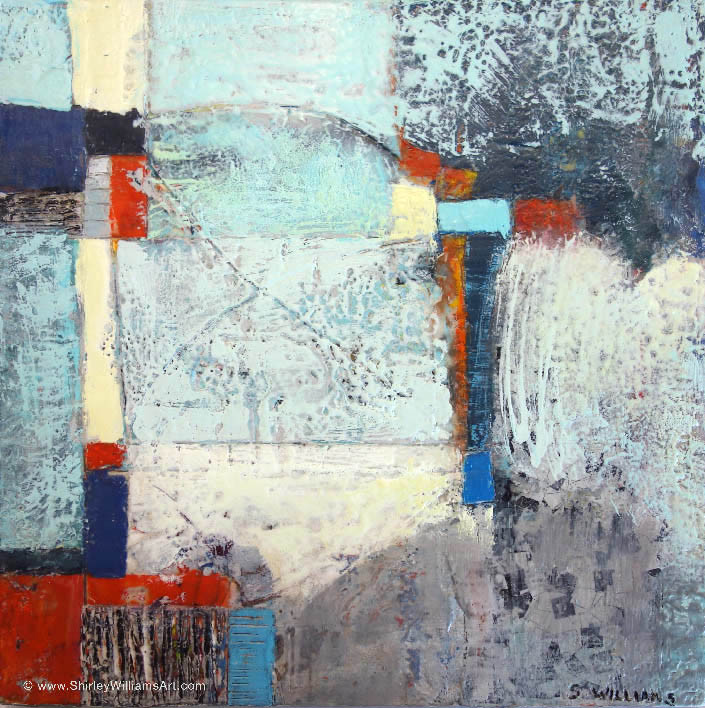 Abstract encaustic painting by artist Shirley Williams, measuring 12 x 12 inches on wood panel