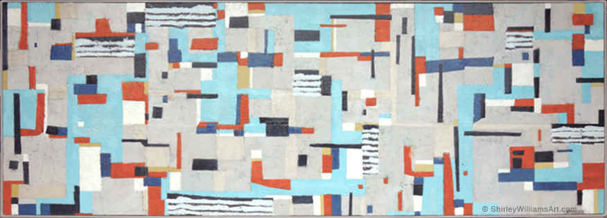 Abstract encaustic painting by artist, Shirley Williams measuring 28 x 80 inches on wood panel
