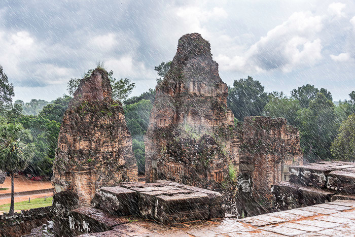 One of the Temples at Angkor Wat during a downpour