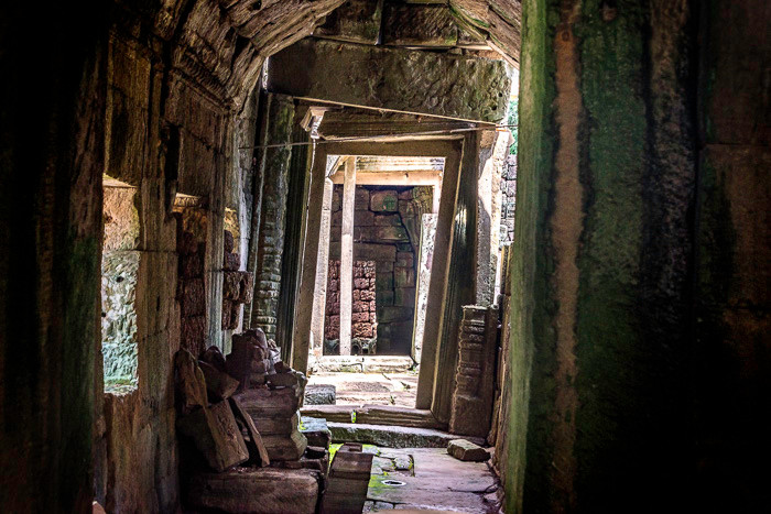 A series of doors leading to a brick wall in one of the temples of Angkor Wat in Cambodia