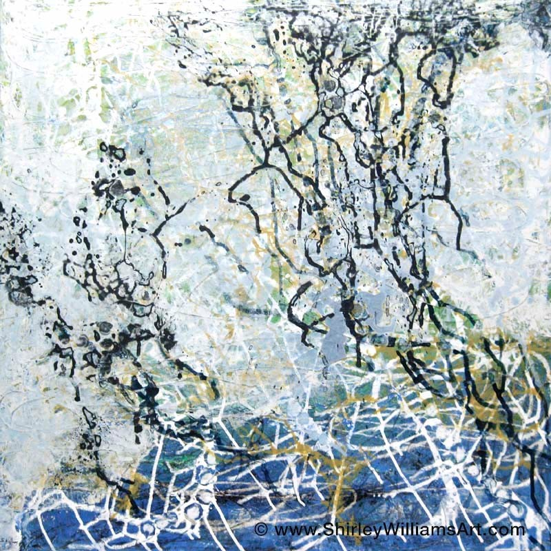 Abstract painting by artist Shirley Williams titled Natural Networks measuring 36 x 36 inches