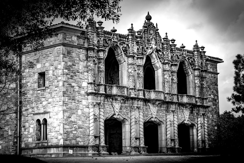 The gothic facade of the mausoleum at West View Cemetery in Atlanta