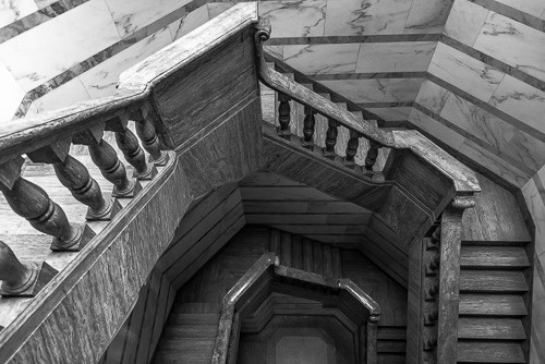 A staircase in the mausoleum at Westview Cemetery in Atlanta, Georgia