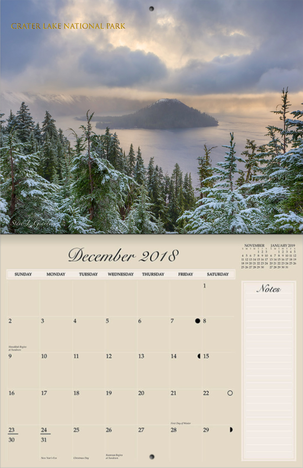 each press printed calendar is 85 x 11 folded and stapled quality product each calendar includes fourteen beautiful landscape images a cover photo