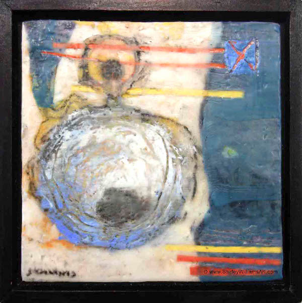 Encaustic by artist shirley Williams called time travel