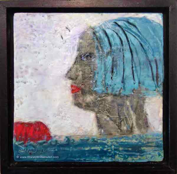 Sphynx by Shirley Williams, framed encaustic on wood