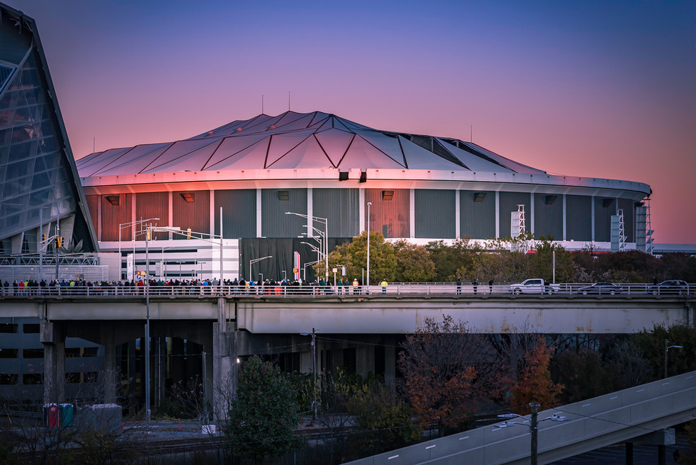 The old Georgia Dome bathed in beautiful morning light just before it was demolished
