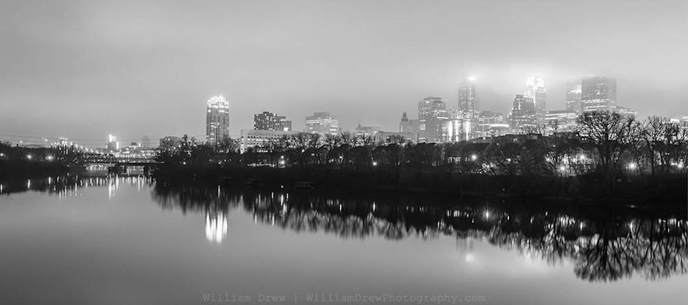 Black and White Minneapolis Skyline
