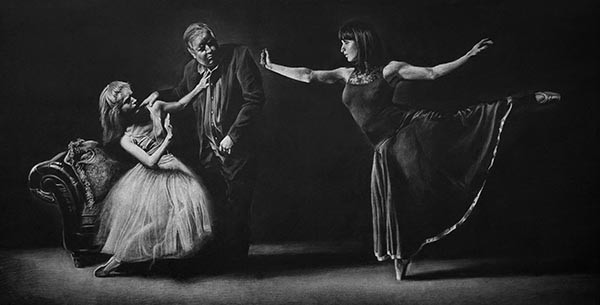 Two ballerinas are rejecting sexual harassment from Harvey Weinstein in this sketch for a painting by Florida realism artist Kevin Grass.