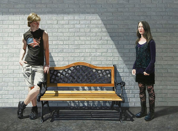 Middle School is a painting by Florida realism artist Kevin Grass showing that awkward phase when two teenagers aren't quite children, but are not yet adults, either.