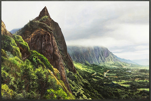 """Pali Overlook"" by Kevin Grass is a realism painting showing a scenic overlook in Oahu, Hawaii."