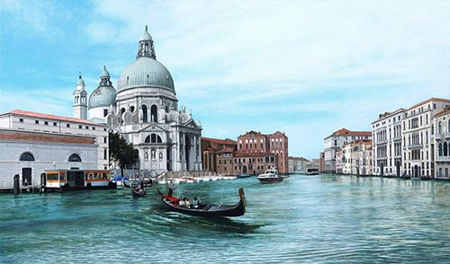 Kevin Grass painted Venice the last time he was there, including the Grand Canal and a view of Santa Maria della Salute