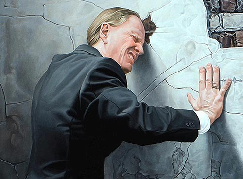 "Detail of Kevin Grass's ""Progress"" painting with a self-portrait of him beating his head against the wall"