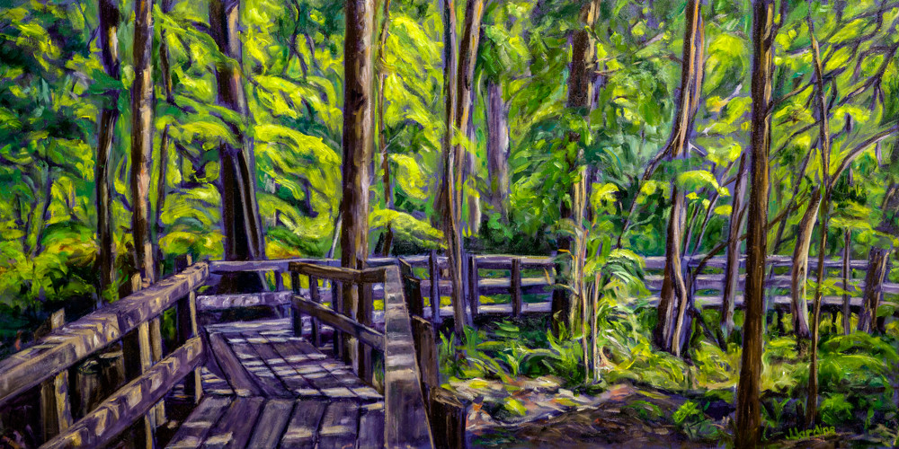 Original oil painting by Janet Jardine. Illumination In Crawford Lake Conservation Area, featuring the boardwalk the circles Crawford Lake, in spring