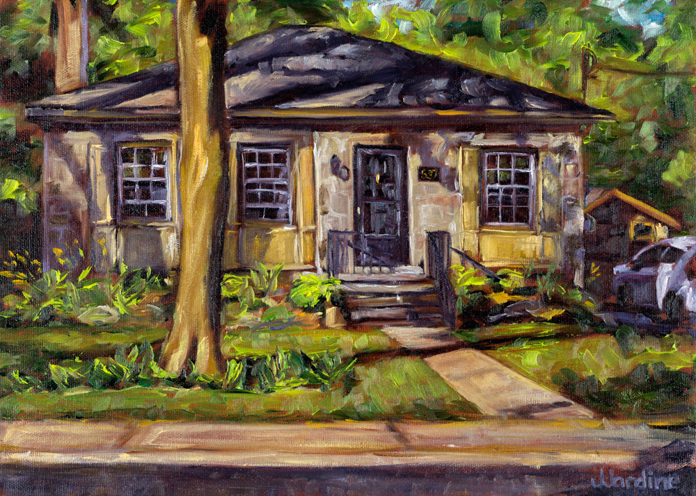 Woodland Cottage Home Portrait - original oil painting commission by Janet Jardine
