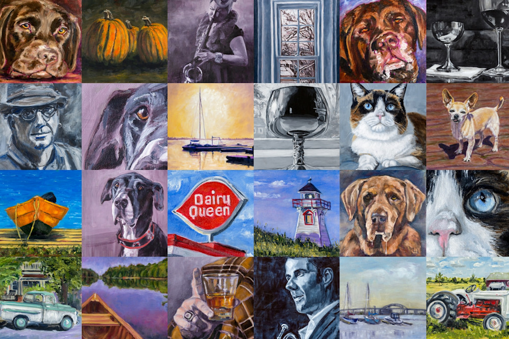 A collage of original oil paintings by Janet Jardine representing pets, people, and memorabilia