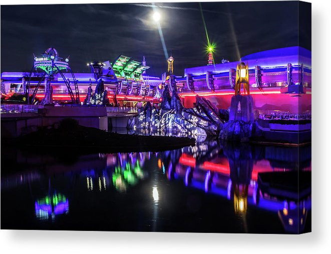 Disney World Canvas Art - Tomorrowland at Night | William Drew Photography