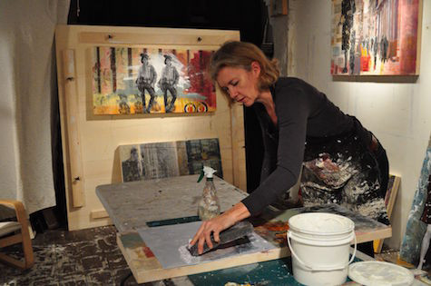 studio image of memory art girl working