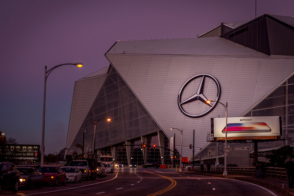 A photo of the Mercedes Benz Stadium in downtown Atlanta