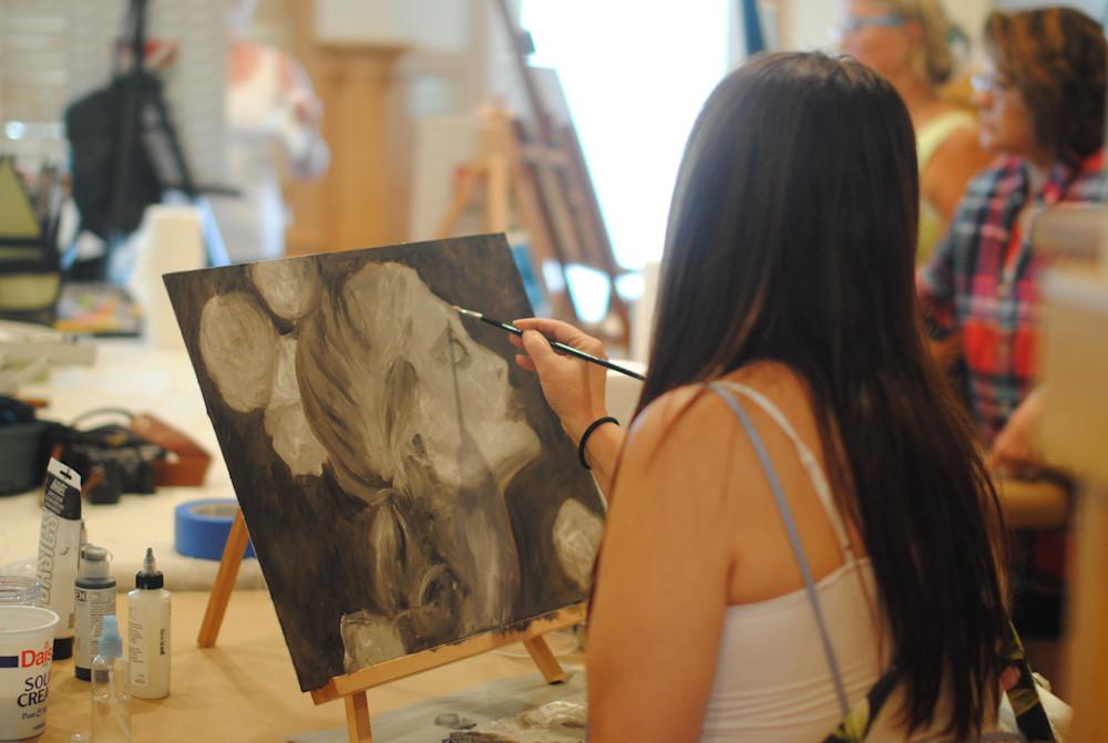 Kathy painting at Kelly Berkey Workshop