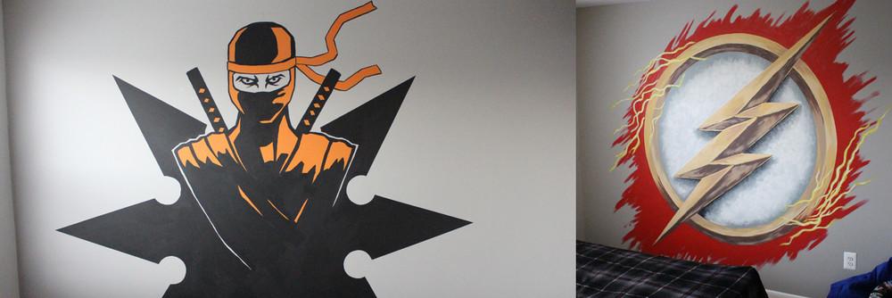 Kid's room murals - Ninja and The Flash
