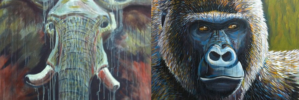 Elephant and Gorilla Paintings