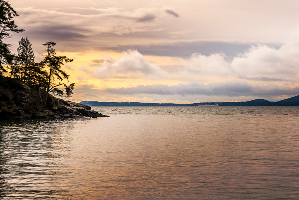 Beautiful clouds hover over the Puget Sound at Larrabee State Park in Washington