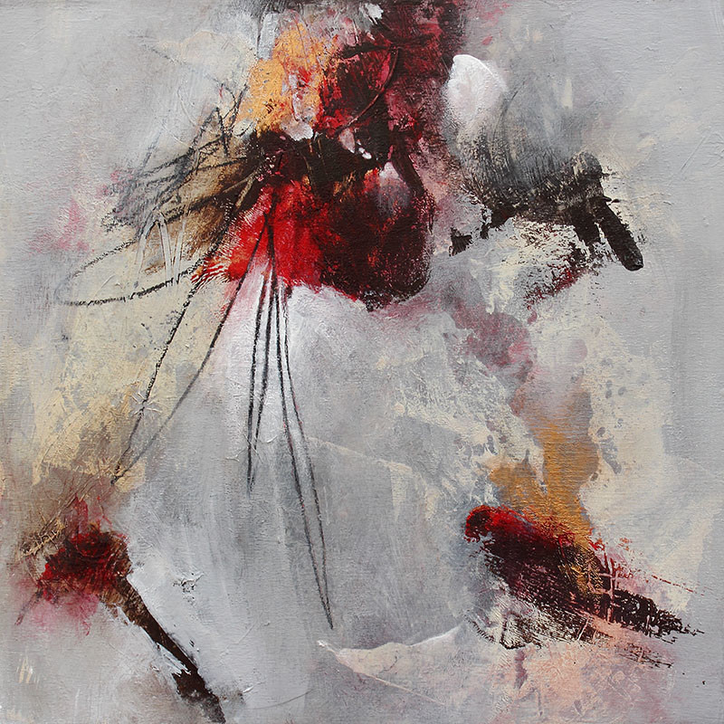Abstract painting in red, grey and gold by Canadian artist Marianne Morris