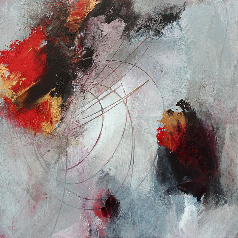 Abstract painting in red, grey and gold by Toronto artist Marianne Morris