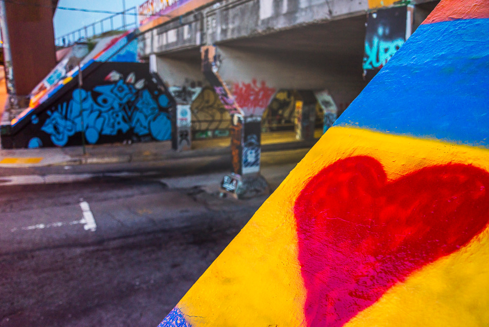 A big red heart is painted on the concrete buttress of the Krog Street tunnel in Atlanta