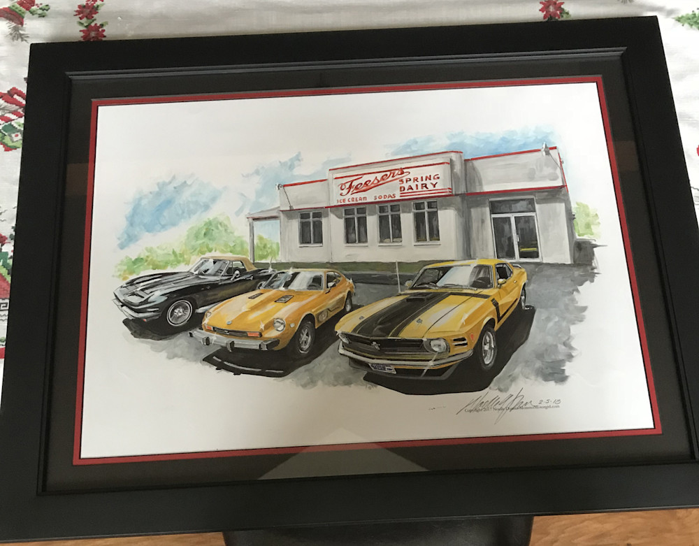 mustang, datsun, corvette, commissioned art