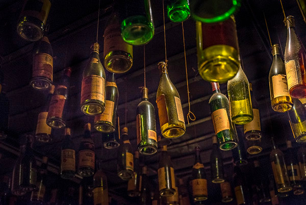 Wine bottles hanging from the ceiling Dante's Down the Hatch in the now-closed Underground