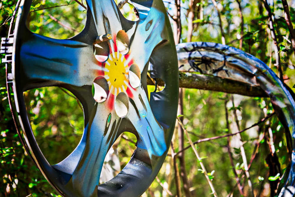 The Doll's Head Trail in Atlanta boasts art made from found objects like this hubcap