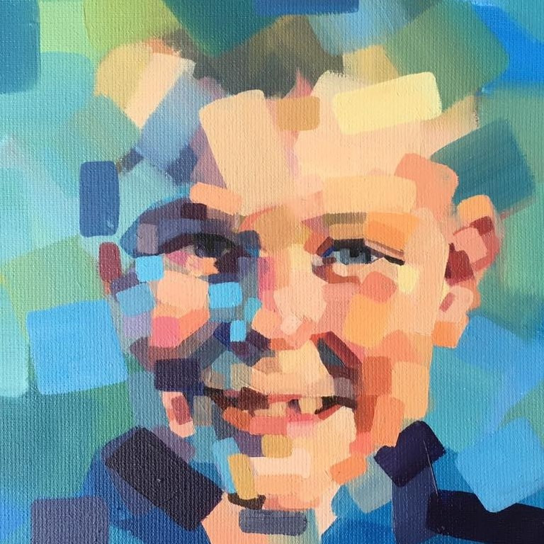 contemporary oil painting happy boy