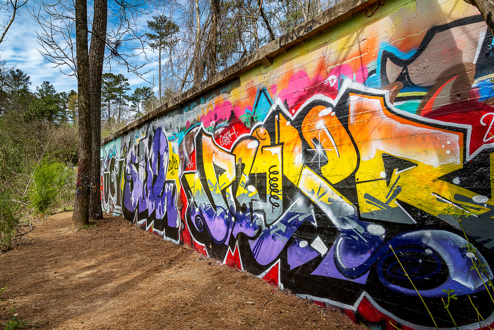 A wall of graffiti near the South Peachtree Creek Trail