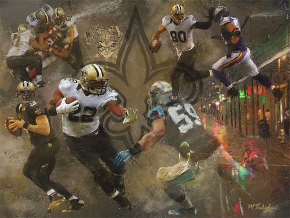New Orleans Saints painting by sports artist Mark Trubisky