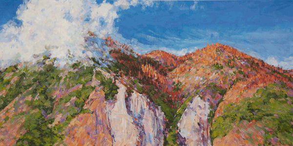 """The Changing California Landscape"" along the Generals Highway in Sequoia National Park, a view of the Great Western Divide. This is an original acrylic painting © Joy Collier 48"" x 24"" x 1.75"" deep."