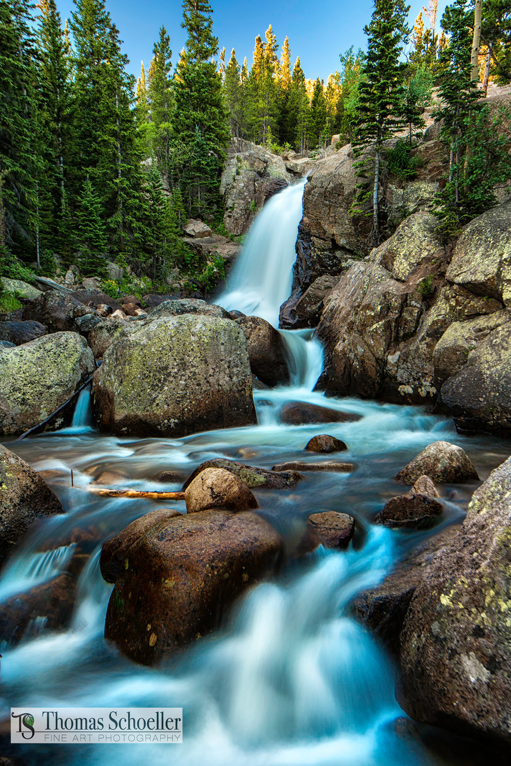Lovely Alberta Falls at sunrise-Rocky Mountain National Park