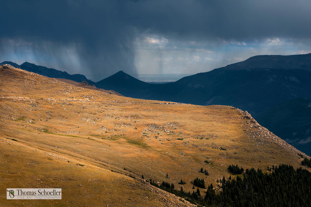Summer storm over Glacier Gorge from Trail Ridge Road, RMNP