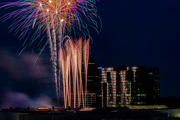 A photo of some fireworks at Lenox Mall in Atlanta
